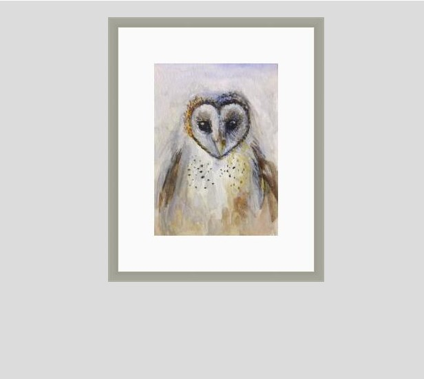 """6012 - Little Barn Owl - Silver Frame"" original fine art by Sea Dean"