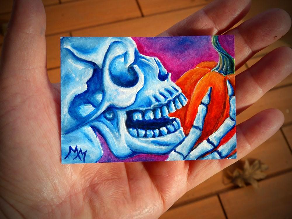 """""""Pumpkin Treat"""" original fine art by Monique Morin Matson"""