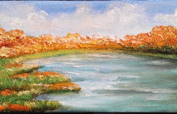 """""""Fall by the River"""" original fine art by Camille Morgan"""