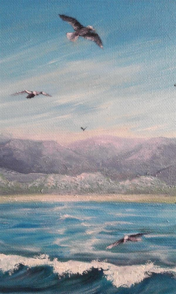 """Ocean Waves Seagulls Mountains Seascape"" original fine art by Camille Morgan"