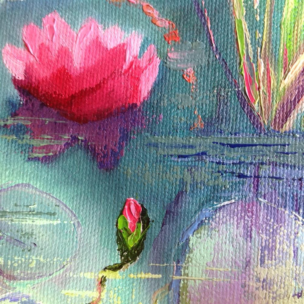 """Pink Water Lilies in Shadow"" original fine art by Rose Brenner"