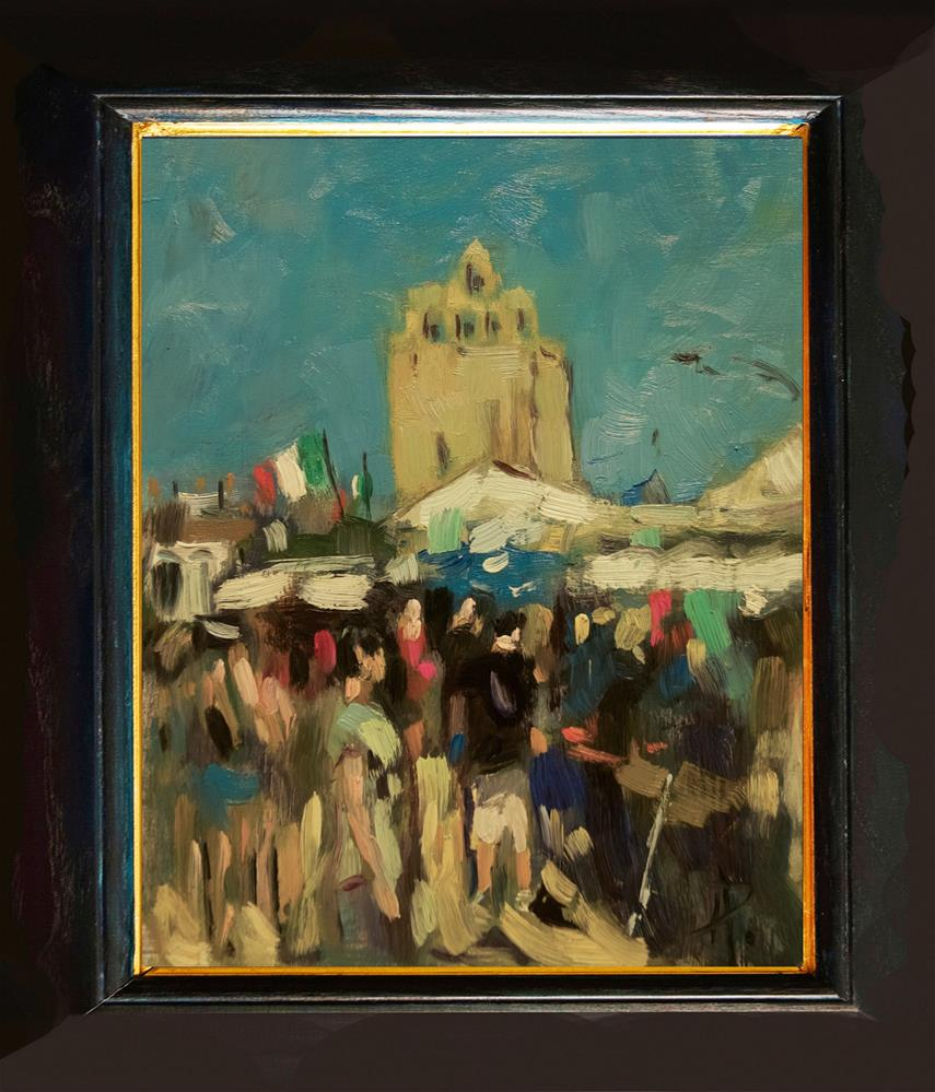 """Market Day at Saintes Maries de la Mer"" original fine art by Andre Pallat"