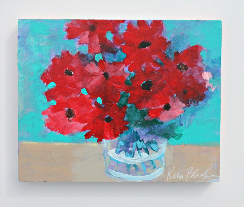 """Red Flowers "" original fine art by Kerri Blackman"