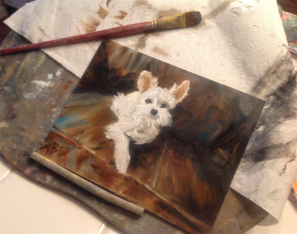 """White pup on dark leather"" original fine art by Annette Balesteri"