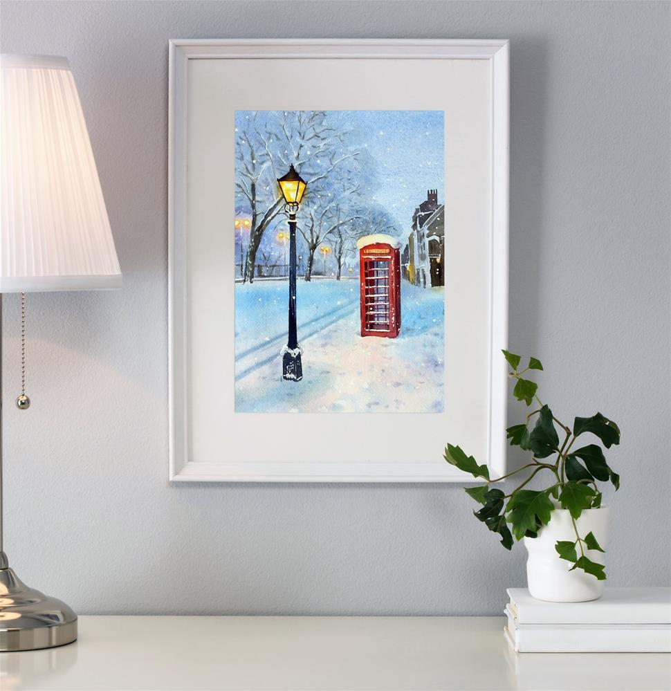 """British Red Telephone Box in the Snow"" original fine art by Olga Beliaeva"