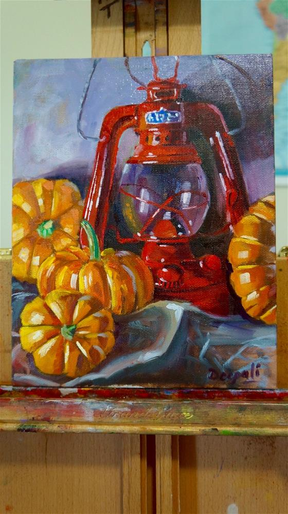 """Pumpkins and lantern"" original fine art by Dipali Rabadiya"