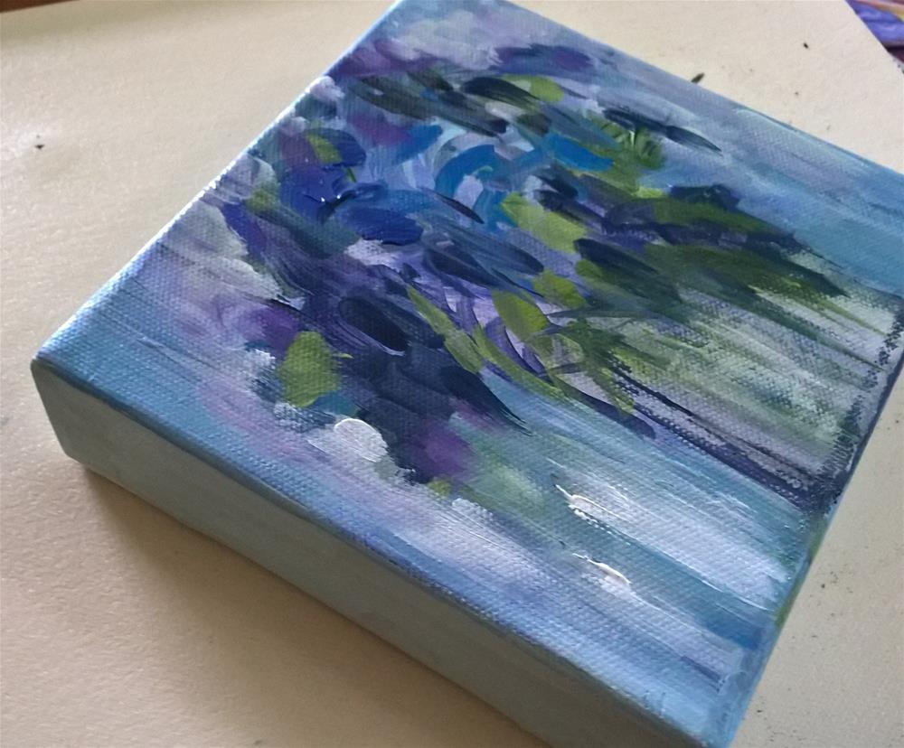 """""""Purple Flowers in a Vase"""" original fine art by Joan Matero"""