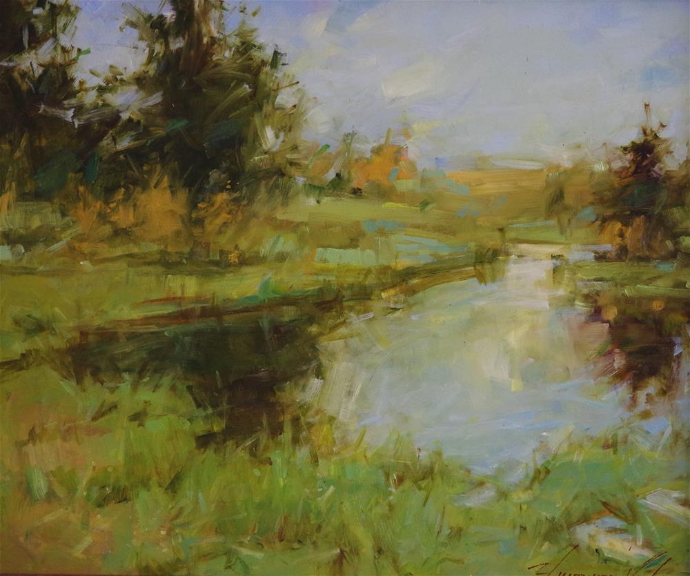 """""""Landscape Lake Side Original oil painting Framed Ready to Hang"""" original fine art by V Y"""