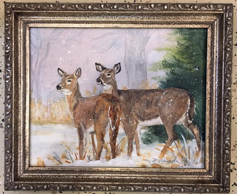 """Deer In Winter"" original fine art by Deb Watson"