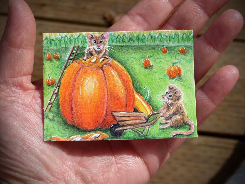 """""""Harvesting Pumpkin Seeds"""" original fine art by Monique Morin Matson"""