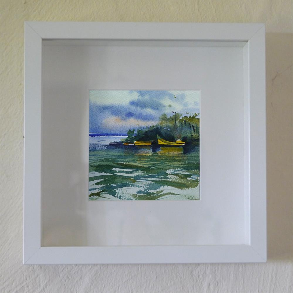 """yellow boats"" original fine art by Beata Musial-Tomaszewska"