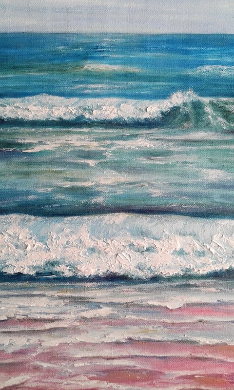 """Seascape Ocean Waves Beach"" original fine art by Camille Morgan"