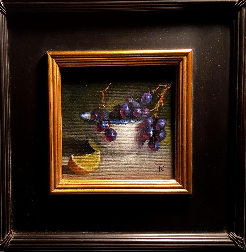 """Grapes in the white cup"" original fine art by Natalia Clarke"