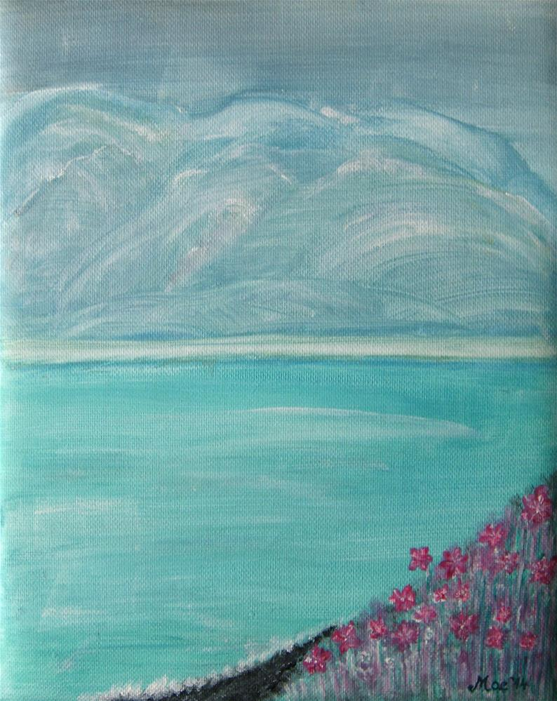 """Pink Flowers By The Ocean"" original fine art by Alina Frent"