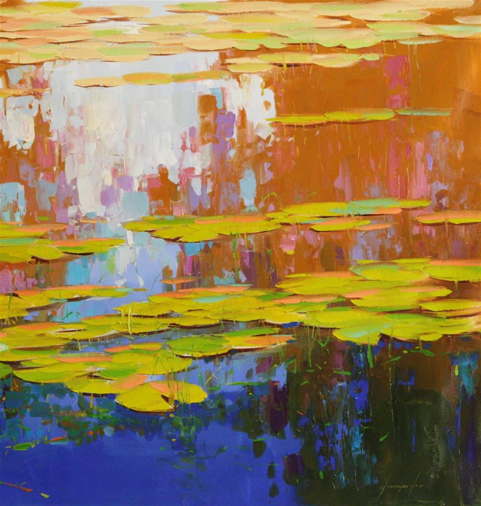 """WATERLILIES ORIGINAL LARGE OIL PAINTING ON CANVAS IMPRESSIONISM"" original fine art by V Yeremyan"