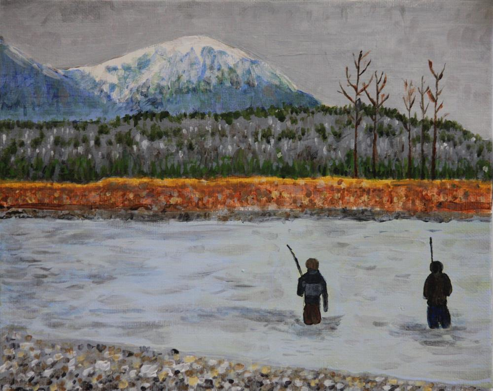 """Fishing in November"" original fine art by Terri-Anne Barge"