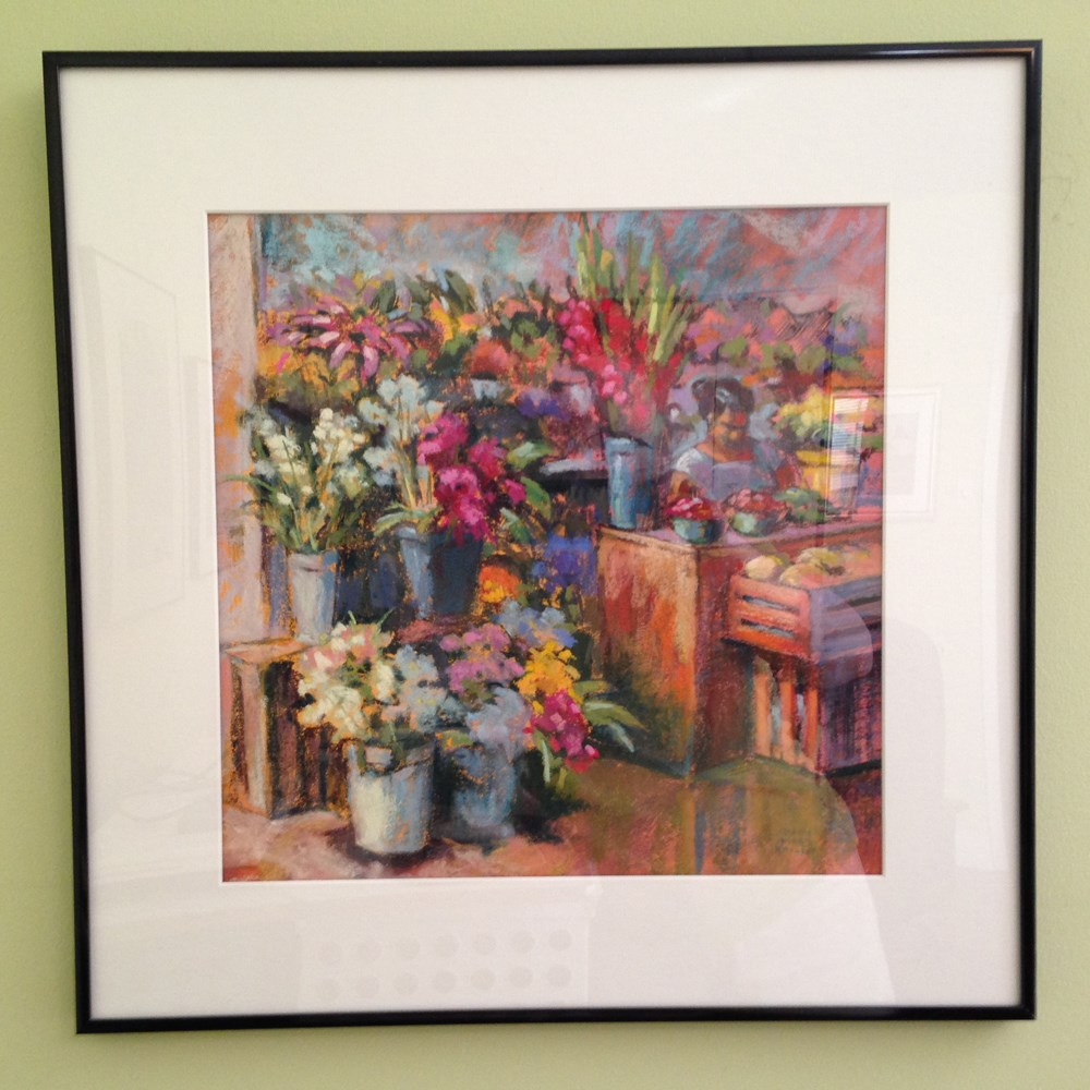 """Santiago Flower Market"" original fine art by Jeanne Bruneau"