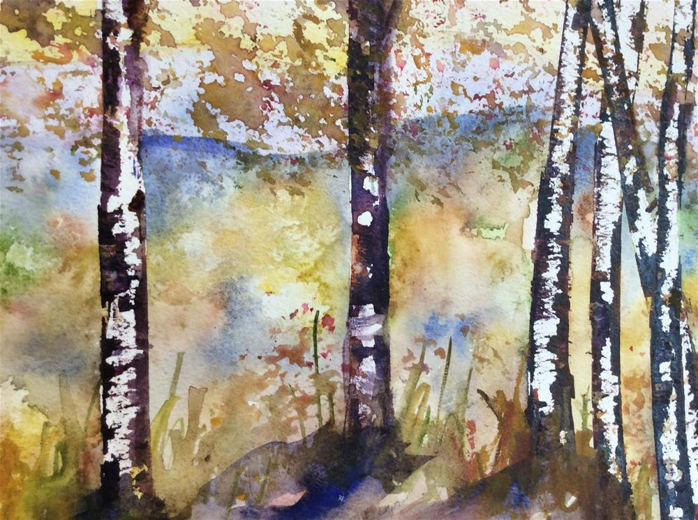 """Birch Fall Sparklers Michigan"" original fine art by Molly Rohrscheib Hathaway"