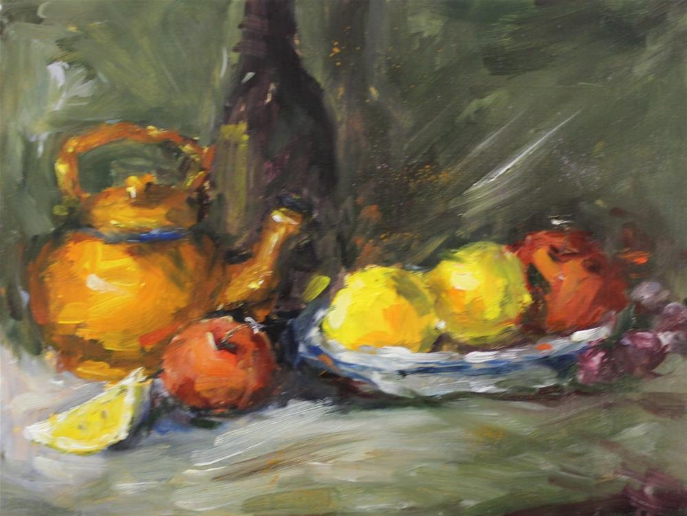 """Original oil wine lemon apple grape still life painting"" original fine art by Alice Harpel"