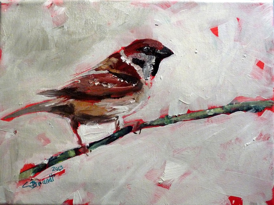 """and again a sparrow number 3"" original fine art by Claudia Brandt"