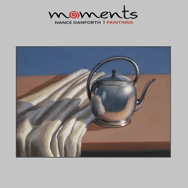 """Silver Teapot with Linen"" original fine art by Nance Danforth"