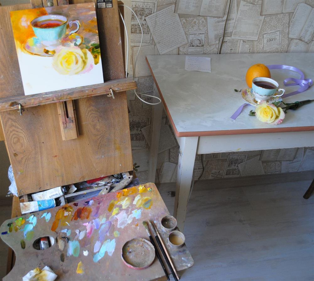 """""""Tea, Rose and Orange"""" original fine art by Elena Katsyura"""