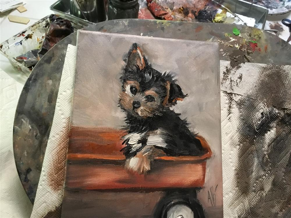 """Pup on the Wagon"" original fine art by Annette Balesteri"