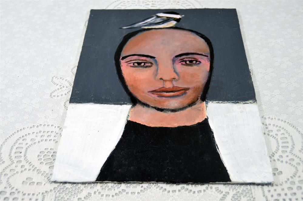 """""""Birdy on Her Head No 5"""" original fine art by Katie Jeanne Wood"""