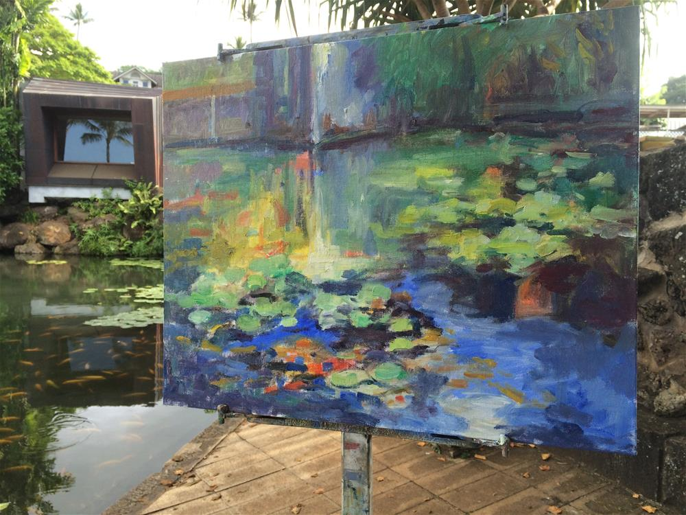 """Punahou Lilly Pond"" original fine art by Yvonne Manipon"