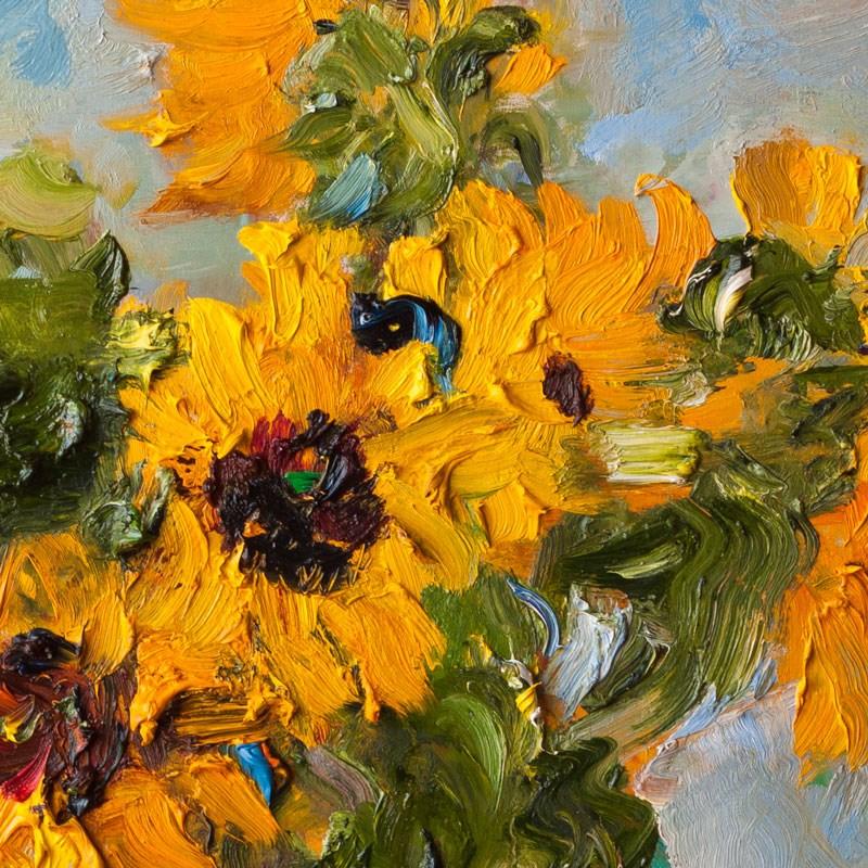 """Bouquet of Sunflowers in a Clay Jug"" original fine art by Anna  Fine Art"
