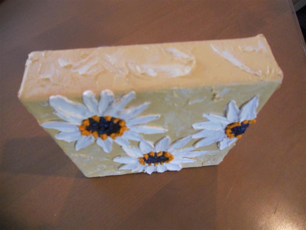 """""""White Daisy Impasto"""" original fine art by Pamela Ross"""