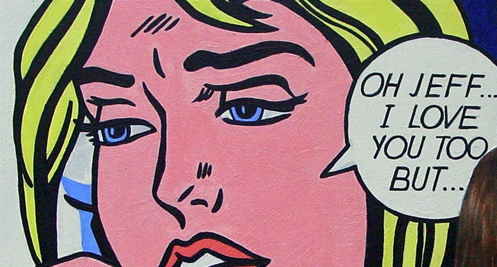 """Oh Jeff- Woman enjoying a painting by pop art artist Roy Lichtenstein"" original fine art by Gerard Boersma"