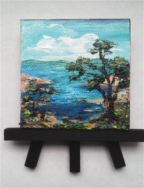 """Seascape with Tree"" original fine art by Camille Morgan"