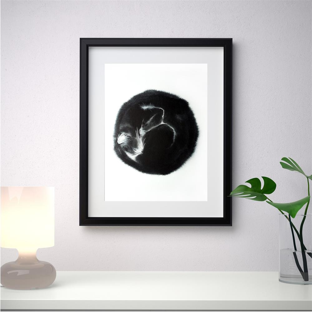 """Black cat curled up in a ball "" original fine art by Olga Beliaeva"