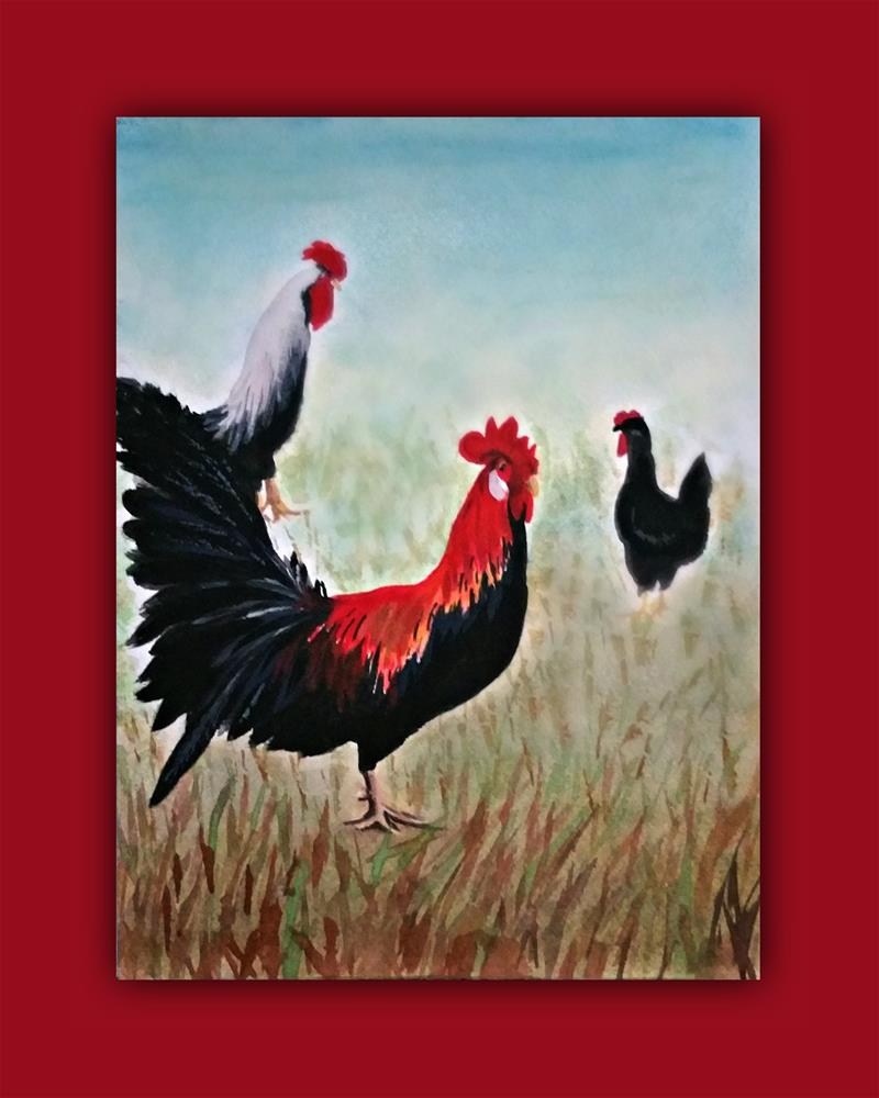 """""""Rooster and Hens"""" original fine art by Dana C"""