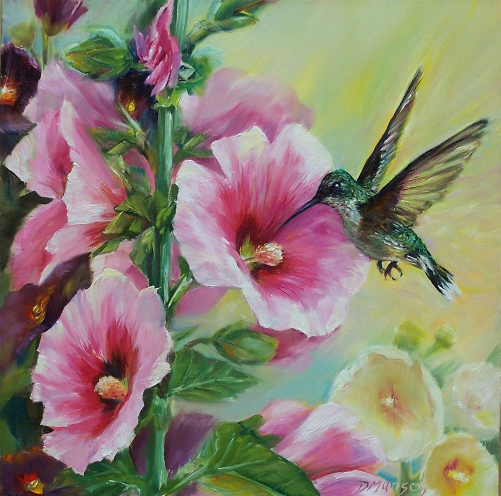 """Hollyhock Hummingbird"" original fine art by Donna Munsch"
