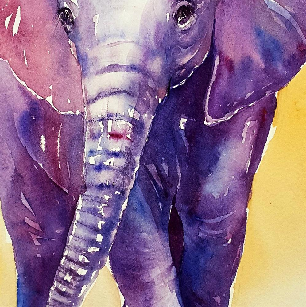 """Purple Candy Baby Elephant"" original fine art by Arti Chauhan"