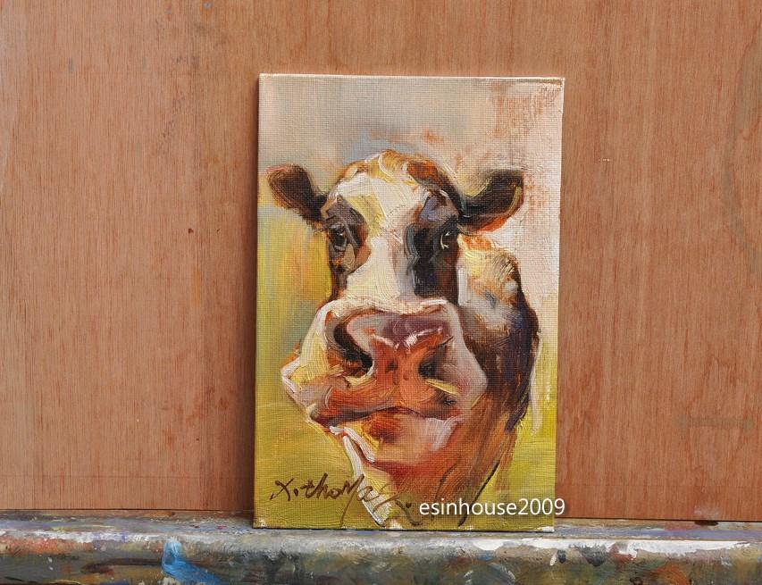 """12x18cm Animals Oil Painting Cow portrait impressionism art Artwork manuscript"" original fine art by Thomas Xie"