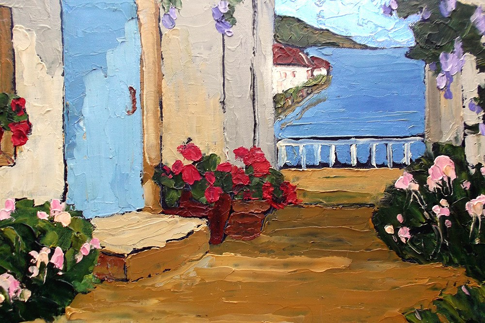 """Amalfi Villa Courtyard"" original fine art by lynne french"