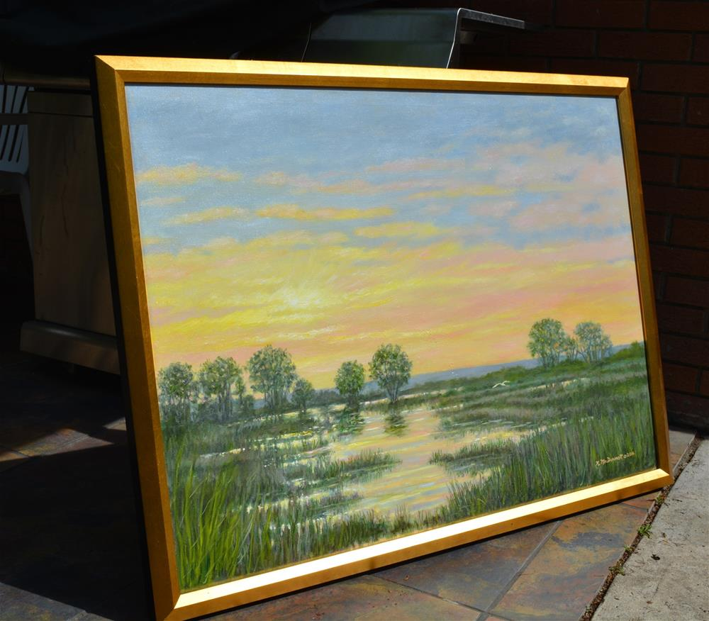 """Marsh at Sunset"" original fine art by Kathleen McDermott"