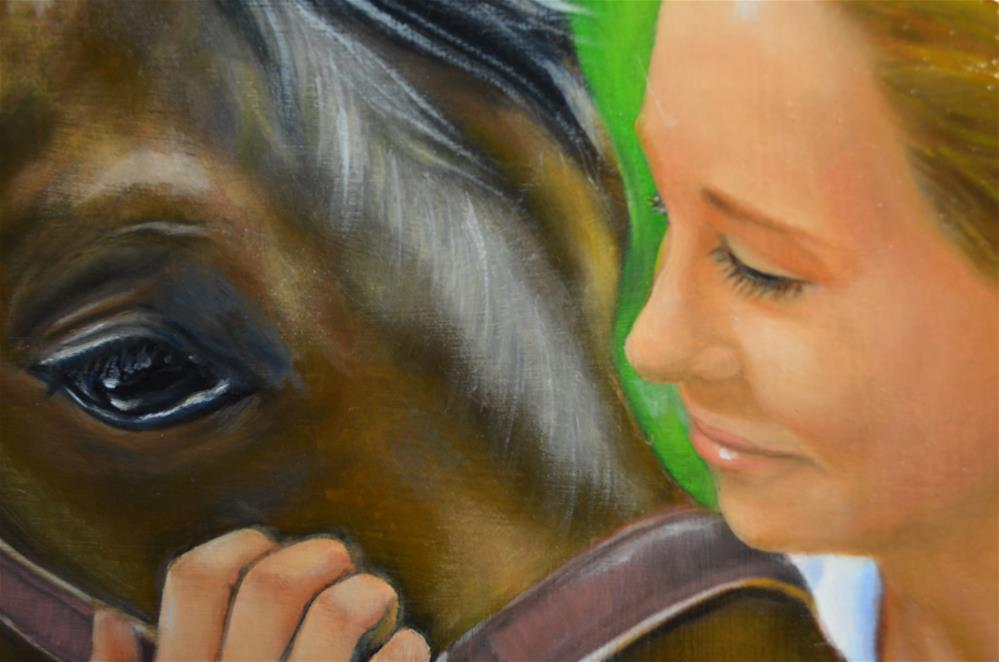"""""""horse with Girl portrait Painting"""" original fine art by Sun Sohovich"""