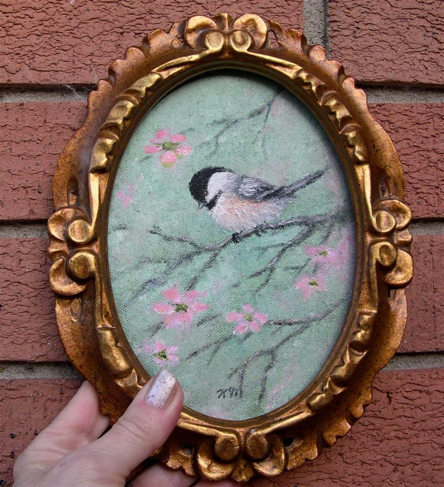 """Pink Blossom Chickadee (Framed)"" original fine art by Kathleen McDermott"
