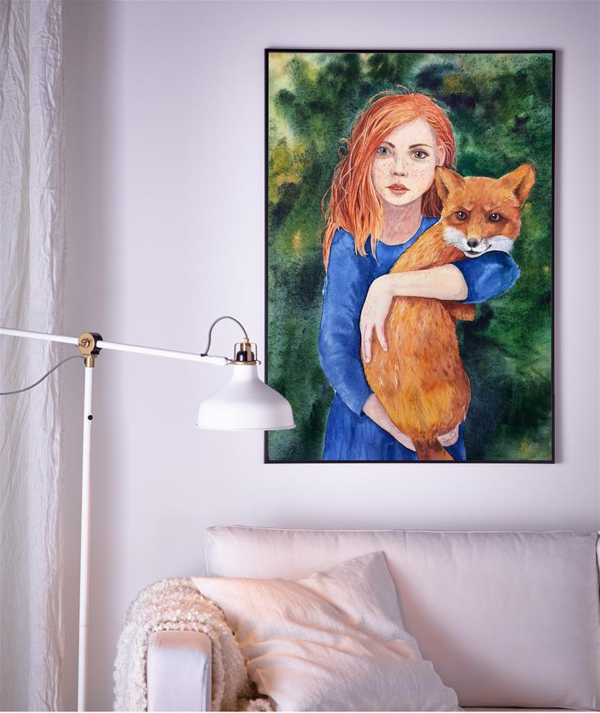 """""""Ginger and Red - Cute red hair girl holding a fox"""" original fine art by Olga Beliaeva"""