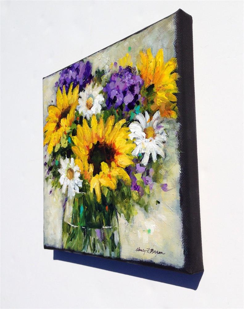 """Sunflowers and Hydrangeas"" original fine art by Nancy F. Morgan"