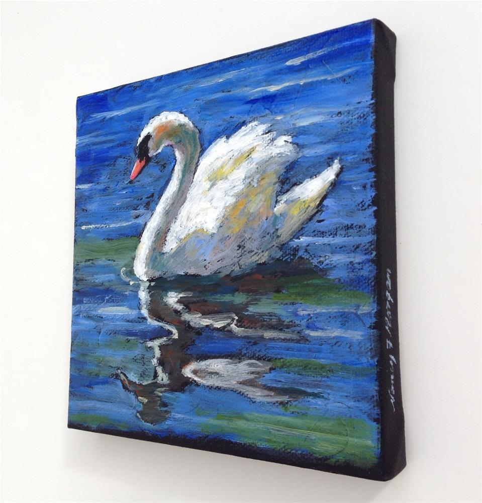 """Swan Reflections"" original fine art by Nancy F. Morgan"
