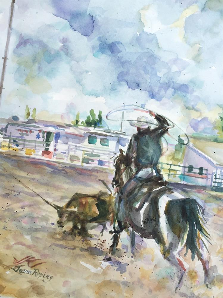 """Team Roping"" original fine art by Jean Krueger"