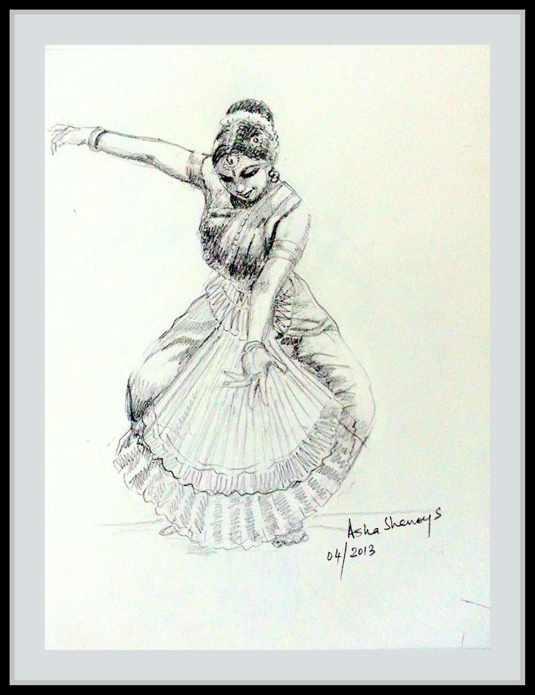 """Indian Dancer 9"" original fine art by Asha Shenoy S"