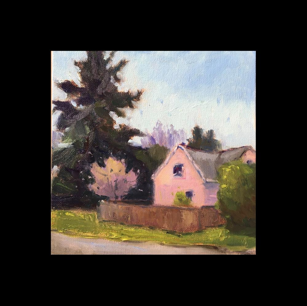 """Pink House on the Corner"" original fine art by Victoria  Biedron"