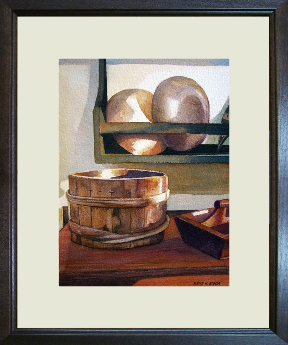"""Wooden Bucket and Bowls"" original fine art by Kara K. Bigda"