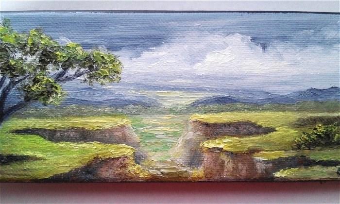 """Tree Overlooking Cliffs"" original fine art by Camille Morgan"